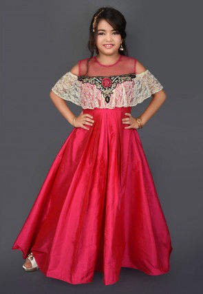 Hand Embroidered Taffeta Silk Gown in Fuchsia