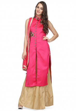 Hand Embroidered Taffeta Silk Lehenga in Fuchsia