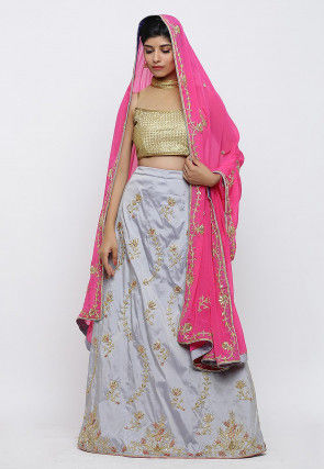 Hand Embroidered Taffeta Silk Lehenga in Grey