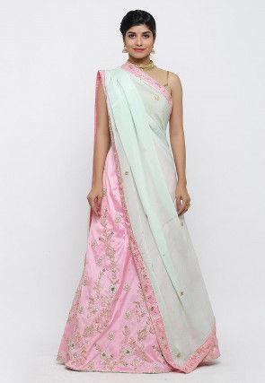 Hand Embroidered Taffeta Silk Lehenga in Pink