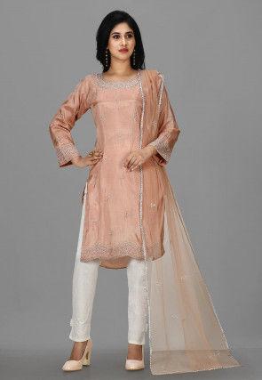 Hand Embroidered Taffeta Silk Pakistani Suit in Dusty Peach