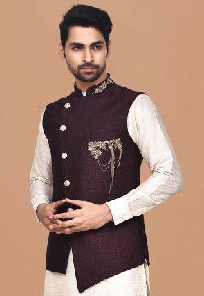 Hand Embroidered Terry Rayon Asymmetric Nehru Jacket in Wine
