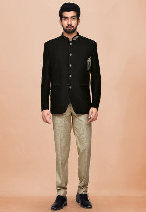 Hand Embroidered Terry Rayon Jodhpuri Suit in Black
