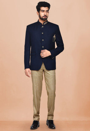 Hand Embroidered Terry Rayon Jodhpuri Suit in Dark Blue
