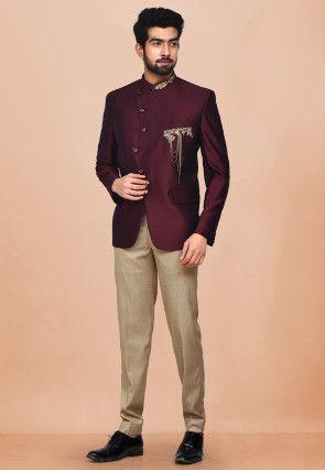Hand Embroidered Terry Rayon Jodhpuri Suit in Maroon