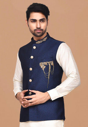 Hand Embroidered Terry Rayon Nehru Jacket in Navy Blue