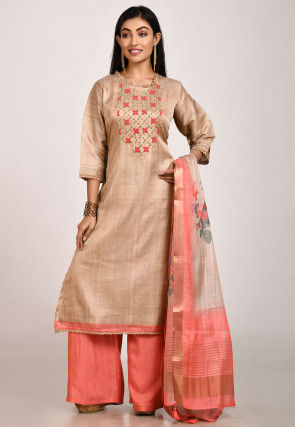 Hand Embroidered Tussar Silk Pakistani Suit in Beige