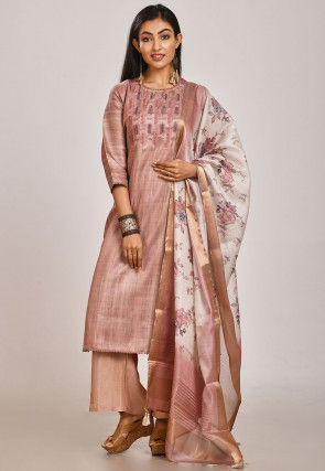 Hand Embroidered Tussar Silk Pakistani Suit in Old Rose
