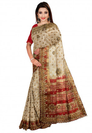 Hand Embroidered Tussar Silk Saree in Off White