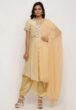Hand Embroidered Uppada Silk Pleated Punjabi Suit in Yellow