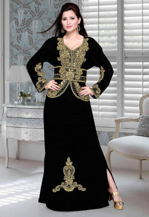 Hand Embroidered Velvet Abaya in Black