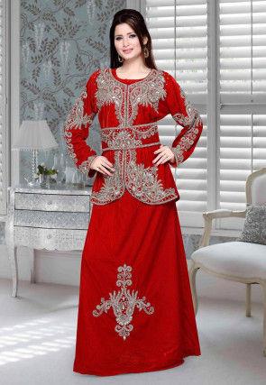 Hand Embroidered Velvet Abaya in Red