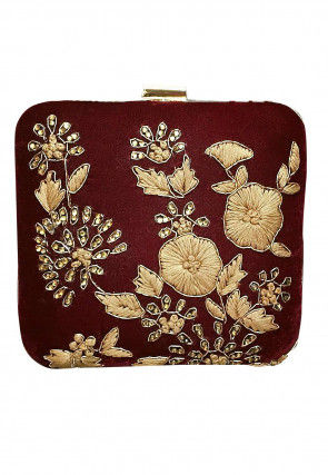 Hand Embroidered Velvet Box Clutch Bag in Brown