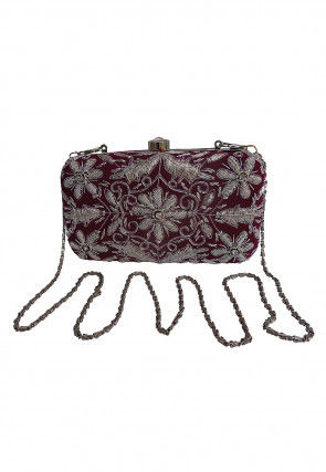 Hand Embroidered Velvet Box Clutch Bag in Magenta