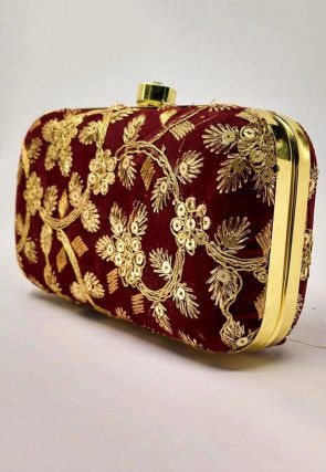 Hand Embroidered Velvet Box Clutch Bag in Maroon