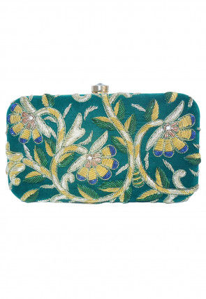 Hand Embroidered Velvet Box Clutch Bag in Turquoise
