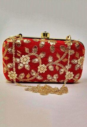 Hand Embroidered Velvet Box Clutch Cum Sling Bag in Red