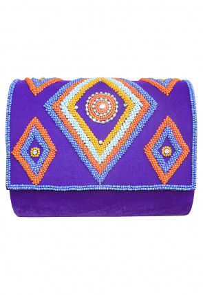 Hand Embroidered Velvet Flap Clutch Cum Sling Bag in Purple