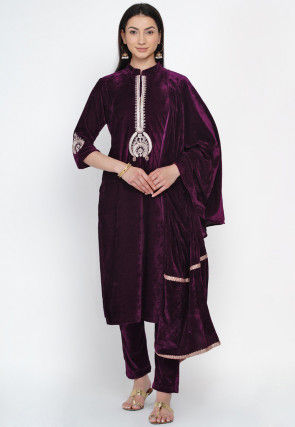 Hand Embroidered Velvet Pakistani Suit in Violet