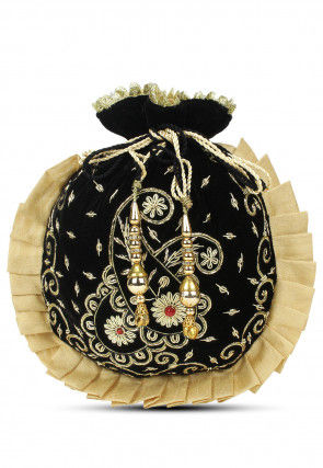 Hand Embroidered Velvet Pleated Potli Bag in Black