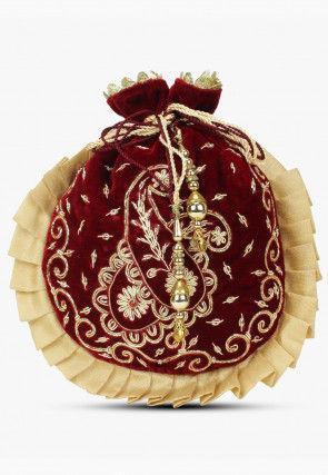 Hand Embroidered Velvet Pleated Potli Bag in Maroon