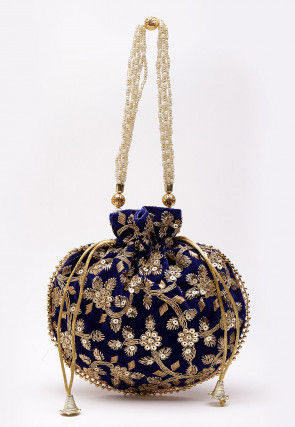 Hand Embroidered Velvet Polti Bag in Royal Blue