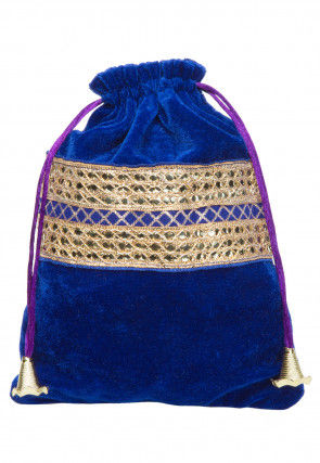 Hand Embroidered Velvet Potli Bag in Blue