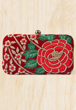 Hand Embroidered Velvet Rectangular Box Clutch Bag in Maroon