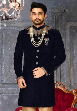 Hand Embroidered Velvet Sherwani in Navy Blue