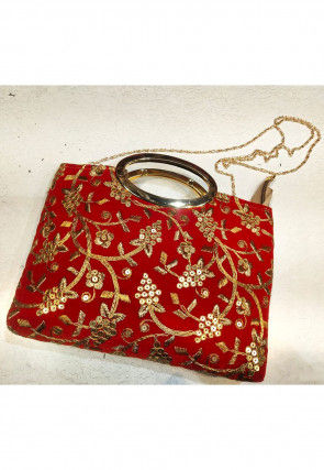 Hand Embroidered Velvet Sling Bag in Red