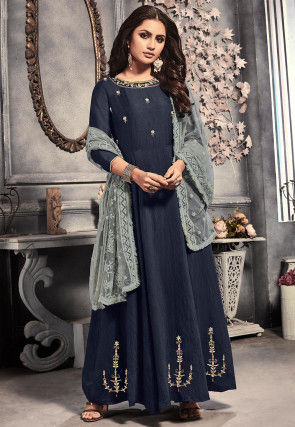 Hand Embroidered Viscose Abaya Style Suit in Navy Blue