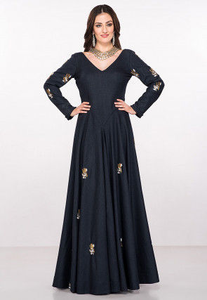 Hand Embroidered Viscose Flared Gown in Navy Blue