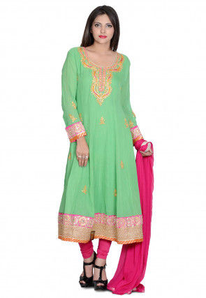 Hand Embroidered Viscose Georgette Anarkali Suit in Green