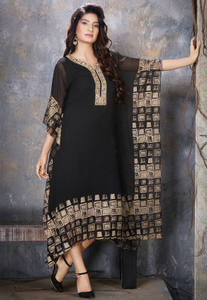 Hand Embroidered Viscose Georgette Kaftan in Black