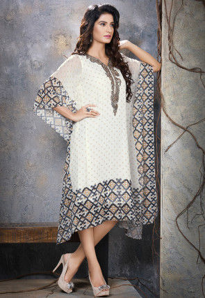 Hand Embroidered Viscose Georgette Kaftan in Off White