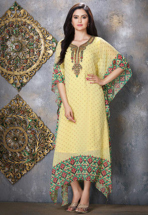 Hand Embroidered Viscose Georgette Kaftan in Yellow
