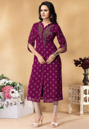 Hand Embroidered Viscose Georgette Kurta in Magenta