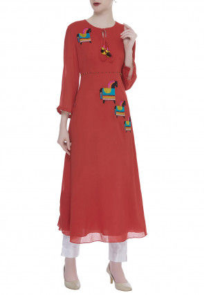 Hand Embroidered Viscose Georgette Kurta Set in Coral Red
