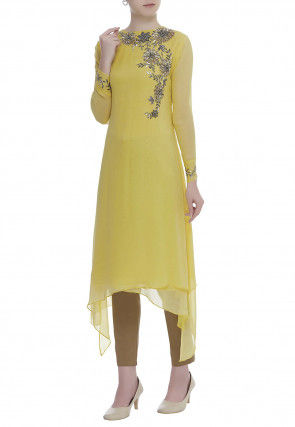 Hand Embroidered Viscose Georgette Kurta Set in Yellow