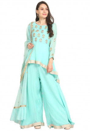 Hand Embroidered Viscose Georgette Pakistani Suit in Blue