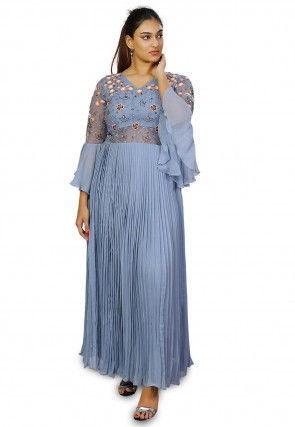 Hand Embroidered Viscose Georgette Pleated Gown in Light Blue