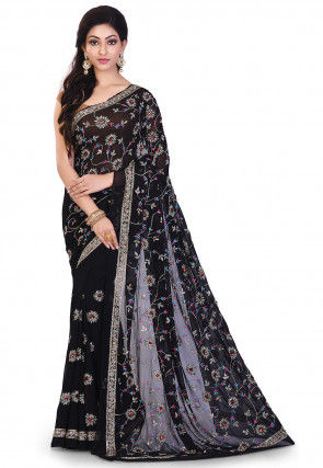 Hand Embroidered Viscose Georgette Saree in Black