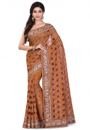 Hand Embroidered Viscose Georgette Saree in Brown