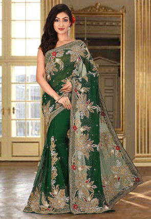 Hand Embroidered Viscose Georgette Saree in Green