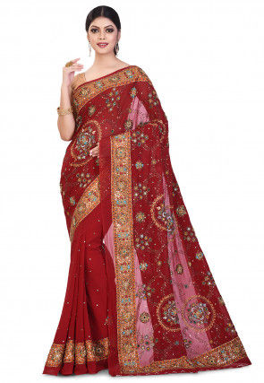Hand Embroidered Viscose Georgette Saree in Maroon