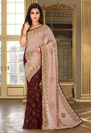Hand Embroidered Viscose Georgette Saree in Pink and Maroon