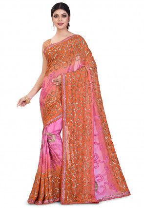 Hand Embroidered Viscose Georgette Saree in Pink and Orange