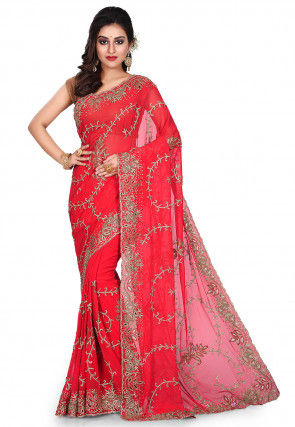 Hand Embroidered Viscose Georgette Saree in Red