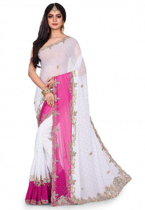 Hand Embroidered Viscose Georgette Saree in White