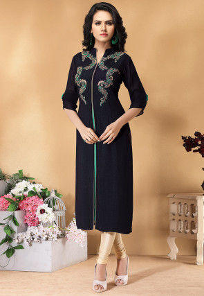 Hand Embroidered Viscose Georgette Straight Kurta in Navy Blue